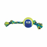 K9 Fitness by Zeus Knotted Rope Bone with Tennis Ball - Medium - 25.4 cm (10 in)