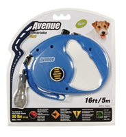 Avenue Dog Retractable Cord Leash, Blue, Small (5m/16ft)
