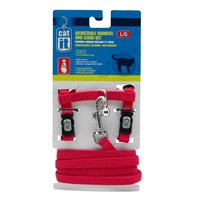 Catit Adjustable Nylon Cat Harness & Leash Set, Red, Large