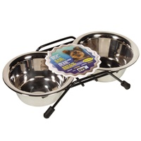 Dogit Stainless Steel Double Dog Diner, Mini, with 2 x 250ml (8.4 fl oz) bowls and stand