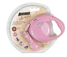 Avenue Dog Retractable Tape Leash, Pink, Extra Small (3m/10ft)