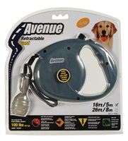 Avenue Dog Retractable Cord Leash, Gray, Large (5m/16ft)