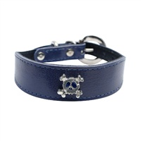"Dogit Style Leather Dog Collar - Wide Collar with Buckle, Blue with Pewter Skull Charm, 25mm x 20cm-25cm (1"" x 8""-10"")"