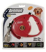 Avenue Dog Retractable Cord Leash, Red, Large (8m/26ft)
