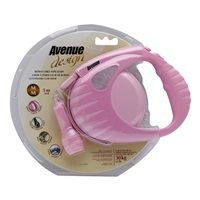 Avenue Dog Retractable Tape Leash, Pink, Medium (5m/16ft)
