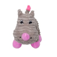 Dogit Stuffies Dog Toy - Corduroy Plush Gray Rhino - 21.5 cm (8.5 in)