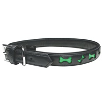 Dogit Style Faux Leather Reflective Dog Collar-Bones, XLarge
