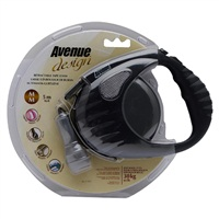 Avenue Dog Retractable Tape Leash, Black, Medium (5m/16ft)