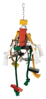 DISC 14-DEC-11 Living World Junglewood Bird Toy, Large Rope with 2 Wood Blocks and Leather Strips with Hanging Clip