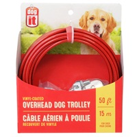 Dogit Overhead Dog Trolley - Red - 15 m (50 ft) cable