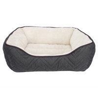 Dogit DreamWell Dog Cuddle Bed - Rectangular - Gray/White - 60 x 51 x 23 cm (24 x 20 x 9 in)