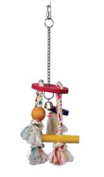 Living World Junglewood Bird Toy, Rope Chime with Round Top, Bell Bead, Block, Cylinder and Peg with Hanging Clip