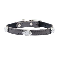 "Dogit Style Leather Dog Collar with Buckle - Gray with Pewter Flower Charms, 13mm x 25cm (1/2"" x 10"")"
