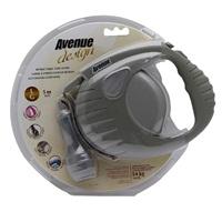 Avenue Dog Retractable Tape Leash, Warm Gray, Large (5m/16ft)
