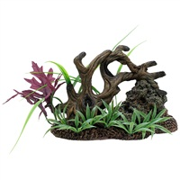 Marina Twisted Driftwood with Rock on Base of Plants, Medium