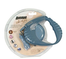 Avenue Dog Retractable Tape Leash, Blue, Small (4m/13ft)