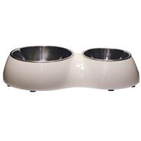 Catit Cat Double Diner-White. Capacity: 1 x 350ml (11.8 fl oz) and 1 x 160mL (5.4 fl oz)