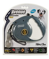 Avenue Dog Retractable Cord Leash, Gray, Medium (5m/16ft)