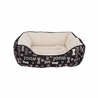 Dogit DreamWell Dog Cuddle Bed - Rectangular - Black Woof - 60 x 51 x 23 cm (24 x 20 x 9 in)