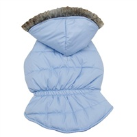 Dogit Fall/Winter 2011 Dog Clothing Collection - Coat with Faux Fur Trimmed Hood, Frosted Blue, X-Large