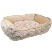 Catit Style Cat Rectangular Reversible Cuddle Bed-Wild Animal, Beige.