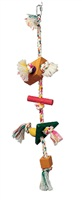 Living World Junglewood Bird Toy, Rope with rectangle and triangle square beads with hanging clip