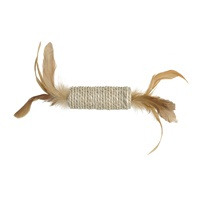 Catit EcoCat Toy Seagrass Cylinder with Feathers - 22 x 3 cm dia