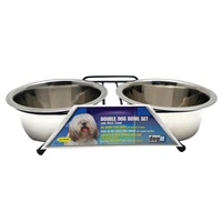 Dogit Stainless Steel Double Dog Diner, Medium, with 2 x 750ml (25 fl oz) bowls and stand