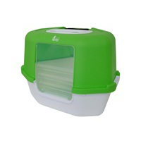 Cat Love Space Saver Corner Hooded Cat Pan w/Detachable bag anchor & carbon filter - Green - 56 x 45 x 43.5 cm (22 x 17.7 x 17.12 in)