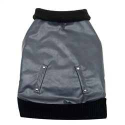 Dogit Fall/Winter 2011 Dog Clothing Collection - Faux Leather Bomber Jacket, Charcoal, XX-Large