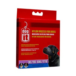 "Dogit Nylon Dog Muzzle-Black-XLarge to XXLarge (24cm / 9.4"")"