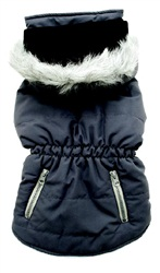 Dogit Fall/Winter 2010 Dog Clothing Collection - Coat with Faux Fur Trimmed Hood, Charcoal Gray, XLarge