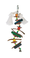 Living World Juglewood Bird Toy, Small Skewer With Wood Pegs, Plastic Beads, Leather Strips and Bell with hanging Clip