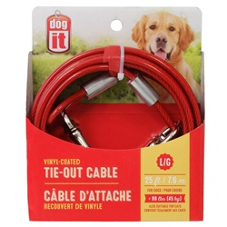Dogit Tie-Out Cable - Red - Large - 7.6 m (25 ft)
