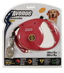 Avenue Dog Retractable Cord Leash, Red, Large (5m/16ft)