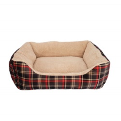 Dogit DreamWell Dog Cuddle Bed - Rectangular - Red Tartan - Large - 63 x 53 x 17.7 cm (25 x 21 x 7 in)
