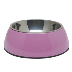 Dogit 2-in-1 Dog Dish, Small-Pink. Holds 350 mL (11.8 fl oz)