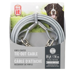Dogit Tie-Out Cable - Clear - X-Large (7.6 m / 25 ft)