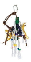 Living World Junglewood Bird Toy, Small Wood Peg with Ropes, Leather Strips and Beads with hanging Clip