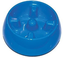 Dogit Go Slow Anti-Gulping Dog Dish, Blue, Medium (600ml/20.2 fl oz)