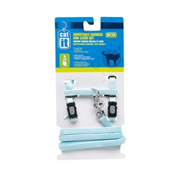 Catit Adjustable Nylon Cat Harness & Leash Set, Blue, Medium