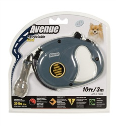Avenue Dog Retractable Cord Leash, Gray, Extra Small (3m/10ft)