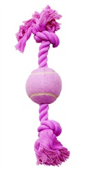 Dogit Dog Knotted Rope Toy, Pink Rope Bone with Tennis Ball, Medium