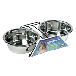 Dogit Stainless Steel Double Dog Diner, Large, with 2 x 1.5L (50 fl oz) bowls and stand