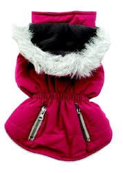 Dogit Fall/Winter 2010 Dog Clothing Collection - Coat with Faux Fur Trimmed Hood, Pink, XXLarge