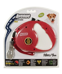 Avenue Dog Retractable Cord Leash, Red, Small (5m/16ft)