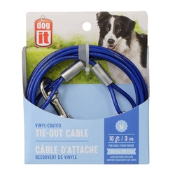 Dogit Tie-Out Cable - Blue - Medium - 3 m (3 ft)