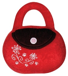 "Dogit Luvz Plush Dog Toy, Red/Brown Purse (18cm/7"")"