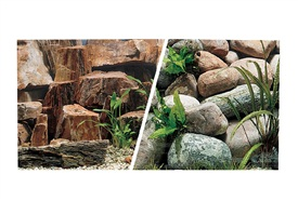 "Marina Double Sided Aquarium Background, Rocky Canyon/Riverbed, 45.7 cm X 7.6 m (18"" X25 ft)"
