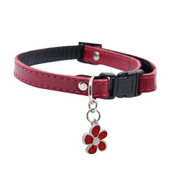 "Dogit Style Adjustable Leather Dog Collar with Snap - Red with Pewter Flower Charm, 10mm x 23cm-35cm (3/8"" x 9""-14"")"